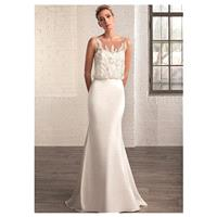 Elegant Satin & Tulle Bateau Neckline Mermaid Wedding Dresses with Beaded Lace Appliques - overpinks