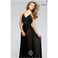 Black Beaded Lace Mesh Gown by Faviana - Color Your Classy Wardrobe