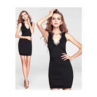 In Stock Chic Knitting Sheath V-neck Neckline Short Prom Dress With Beadings - overpinks.com