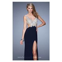 Metallic Embroidered Gown by La Femme 21469 - Bonny Evening Dresses Online