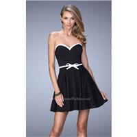 Black/White La Femme Short Cocktail 21986 La Femme Short Dresses - Rich Your Wedding Day