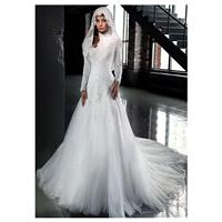 Gorgeous Tulle High Collar Neckline A-line Arabic Islamic Wedding Dresses with Beaded Lace Appliques
