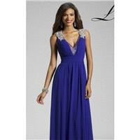 Blue Embellished V Neck Gown by Lara Designs - Color Your Classy Wardrobe
