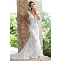 Style 117193 by Enchanting by Mon Cheri - White Lace Floor Straps  V-Neck Body-skimming Wedding Dres