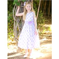 Lilac/White Cotton Gingham Checked Dress Style: LM635 - Charming Wedding Party Dresses|Unique Weddin