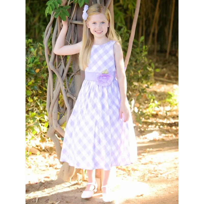 My Stuff, Lilac/White Cotton Gingham Checked Dress Style: LM635 - Charming Wedding Party Dresses|Uni