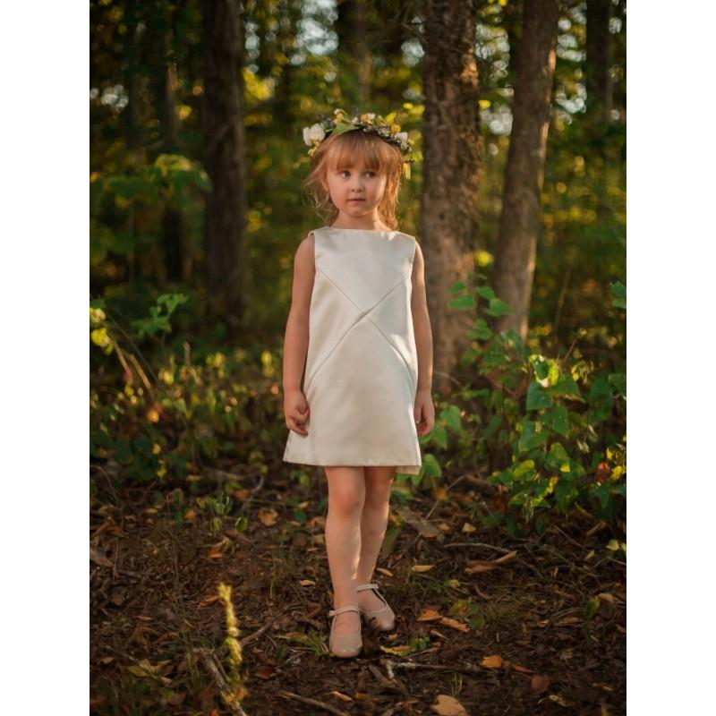 My Stuff, Cross Diagonals Flower Girls Dress in Ivory - Made to Order - Hand-made Beautiful Dresses|