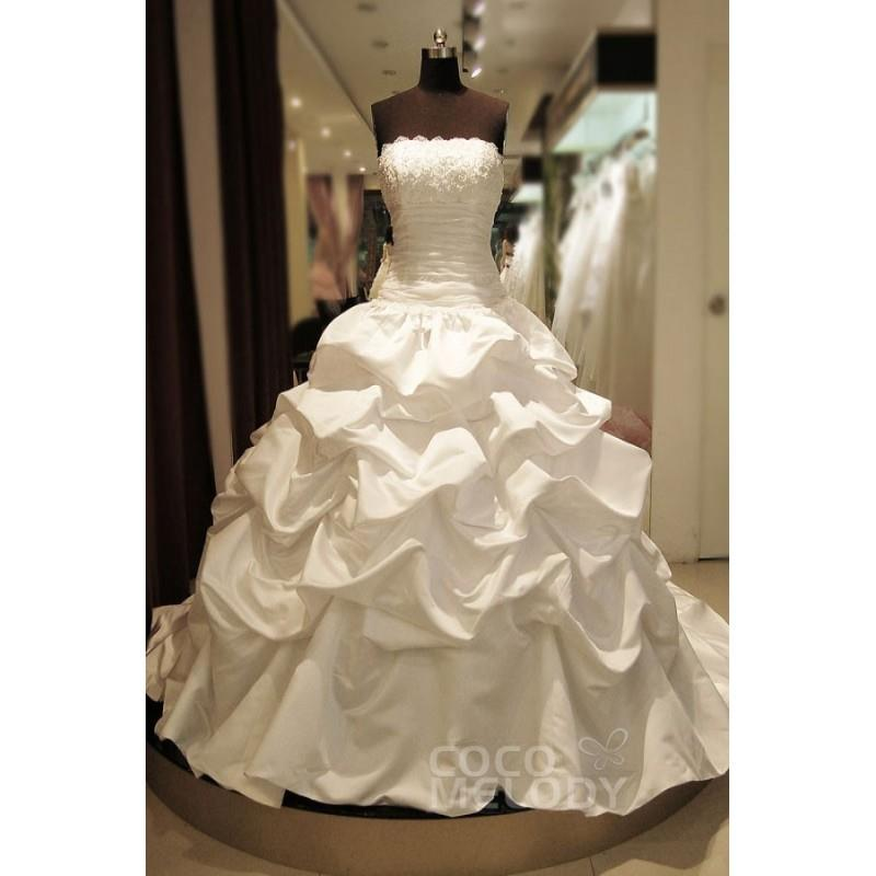 My Stuff, New Design Ball Gown Strapless Chapel Train Taffeta Ivory Sleeveless Lace Up-Corset Weddin