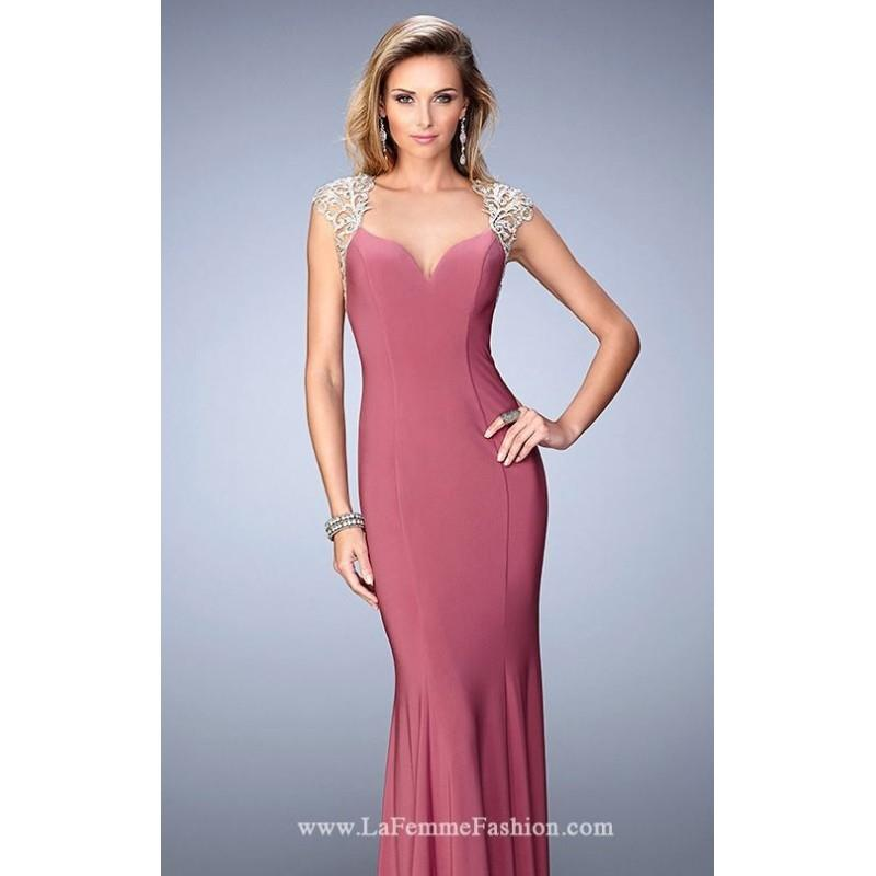 My Stuff, Rose Beaded Open Back Jersey Gown by La Femme - Color Your Classy Wardrobe