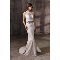 Adele by Badgley Mischka - Ivory  Blush  Black Sequin Backless  Zip-Up Fastening Floor Wedding Dress