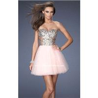 Apricot Sequined Tulle Dress by La Femme - Color Your Classy Wardrobe