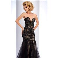 Black/Nude Strapless Beaded Gown by Clarisse - Color Your Classy Wardrobe