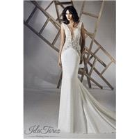Luxurious Trumpet-Mermaid V-Neck Natural Chapel Train Stretch Crepe Ivory Sleeveless Open Back Weddi