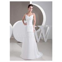 Delicate Chiffon Spaghetti Straps Neckline Sheath Wedding Dresses With Beaded Lace Appliques - overp