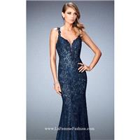 Midnight Blue Beaded Lace Open Back Gown by La Femme - Color Your Classy Wardrobe