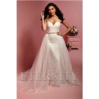 Style D5414 by Eternity Bride - Ivory  White  Champagne Chiffon Belt  Detachable Train Floor Wedding