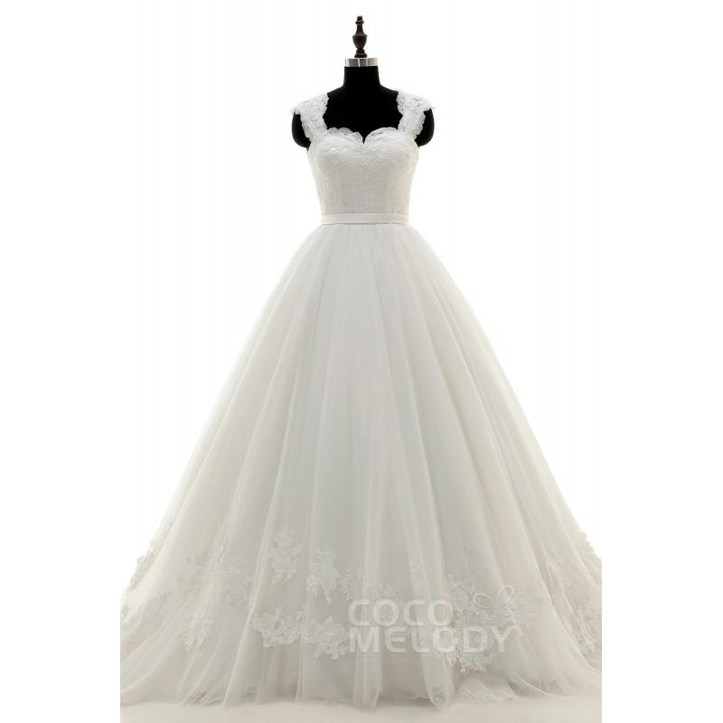 My Stuff, Perfect Queen Anne Court Train Tulle and Lace Ivory Sleeveless Wedding Dress with Applique