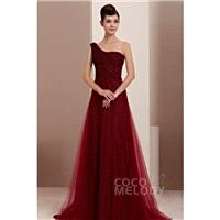 New Design A-Line One Shoulder Sweep-Brush Train Side Zipper Tulle Evening Dress COST14009 - Top Des