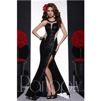 Panoply 14677 Sequin Illusion Racerback Split Skirt - Panoply Fit and Flare Prom Long Jewel Dress -