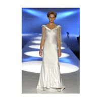 David Fielden - 2013 - Silk Satin V-Neck Sheath Wedding Dress with Sheer Lace Sleeves - Stunning Che