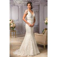 Style T182008 by Jasmine Couture - Lace V-Back Floor V-Neck Fit and Flare Short Wedding Dresses - Br