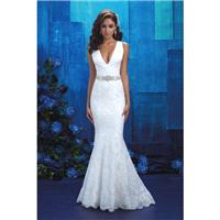 Style 9410 by Allure Bridals - Ivory Lace Floor V-Neck Fit and Flare Wedding Dresses - Bridesmaid Dr