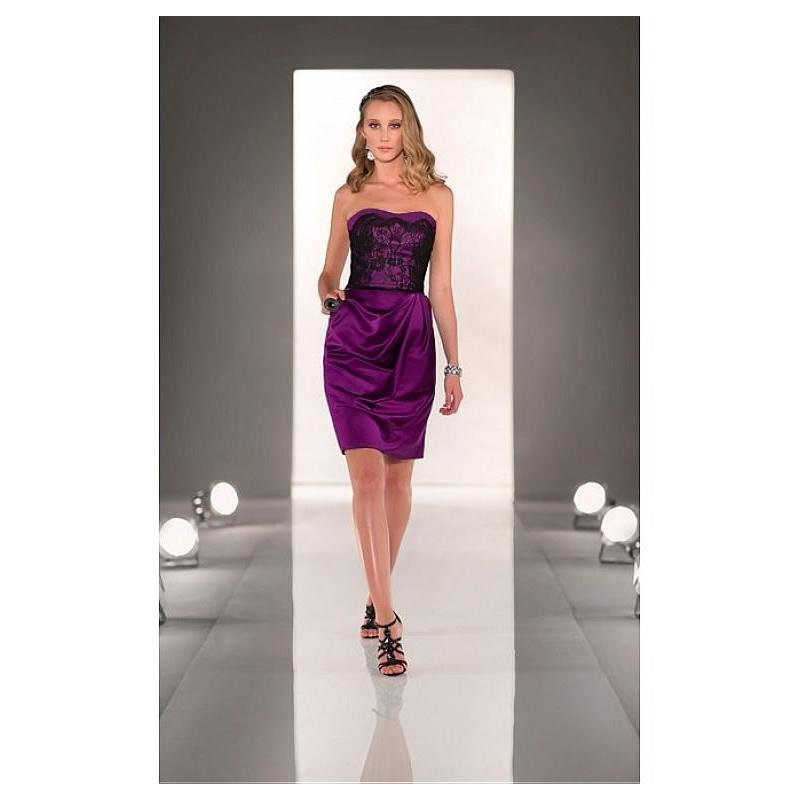 My Stuff, Stunning Lace & Stretch Satin Strapless Neckline Knee-length Sheath Homecoming Dress - ove