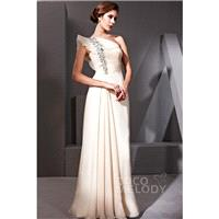 Dramatic Sheath-Column One Shoulder Floor Length Chiffon Evening Dress with Pleating and Crystals CO