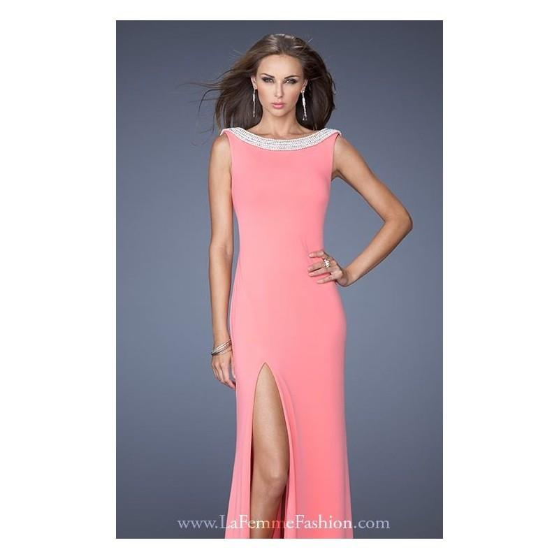 My Stuff, Coral Boat Neckline Gown by La Femme - Color Your Classy Wardrobe