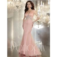 Panoply 44239 Plunging V-Neck Shiny Tulle Over Jersey Trumpet Skirt - Prom Panoply V Neck Long Merma