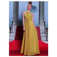 In Stock Unique Pearls Chiffon Satin Halter Neckline Floor-length A-line Evening Dress - overpinks.c