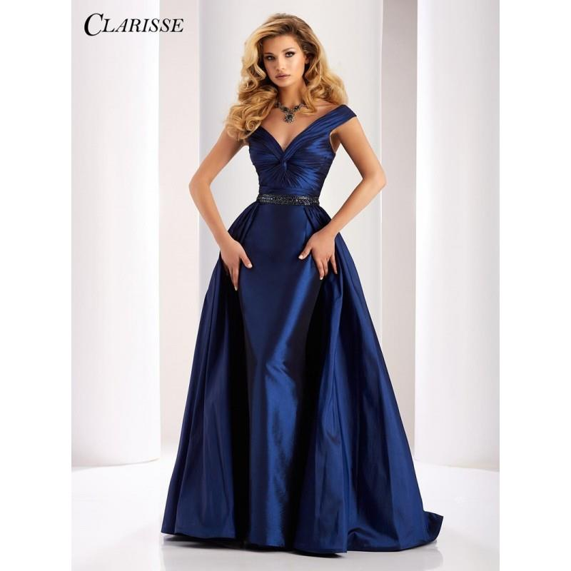 My Stuff, Clarisse 4862 Evening Dress - Long A Line, Trumpet Skirt Prom Off the Shoulder, V Neck Cla