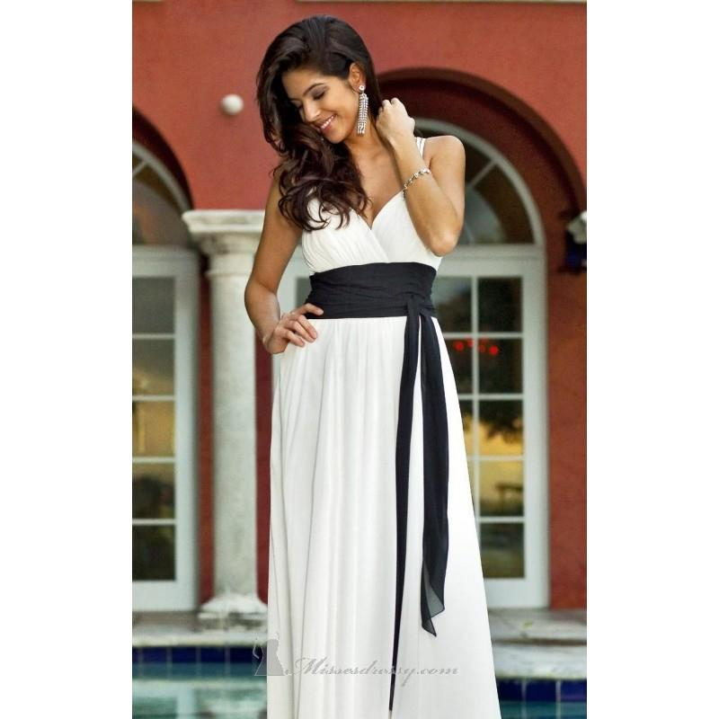 My Stuff, Ivory/Black Pleated V Neckline Gown by Alexia Designs - Color Your Classy Wardrobe
