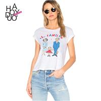 2017 summer New Women's fashion College style printing Short Sleeve crew neck slim fit T-Shirt - Bon