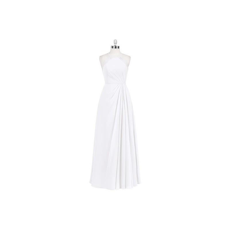 wedding, White Azazie Heather - Illusion Halter Floor Length Chiffon Dress - Charming Bridesmaids St