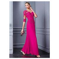 Attractive Tulle & Chiffon Bateau Neckline A-Line Mother of the Bride Dresses With Beaded Lace Appli