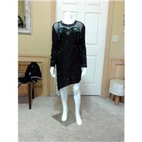 Vintage Black Irregular Short Hem  Evening Beaded Dress/ Wedding Guest Dress / Formal Short Dress S/
