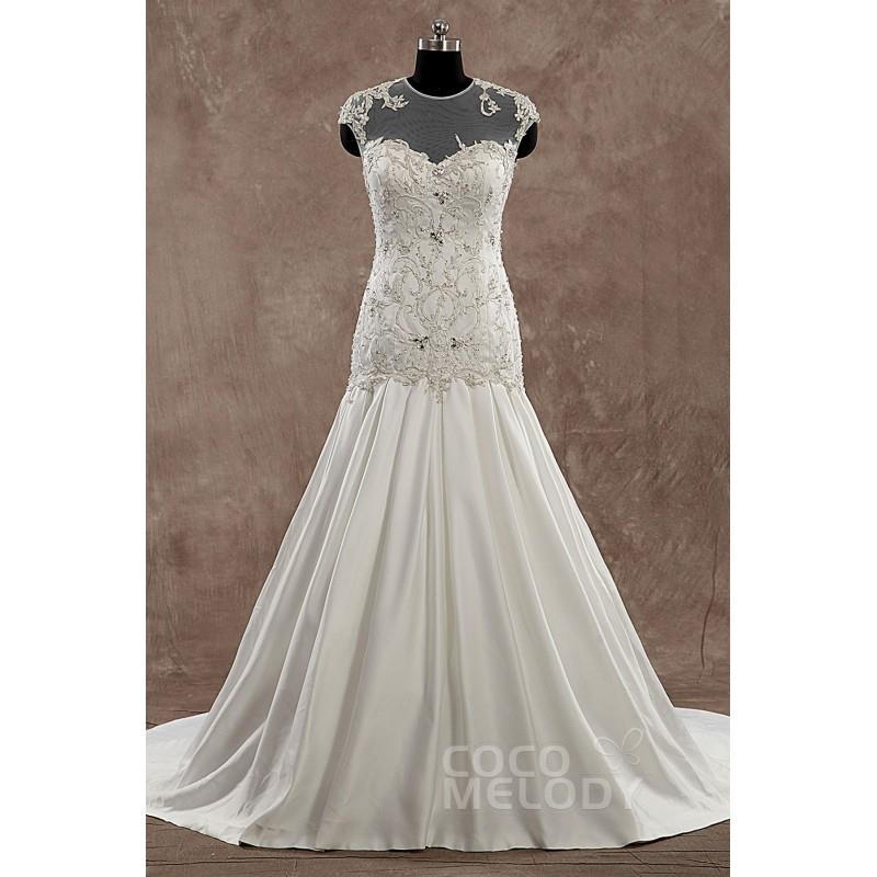 My Stuff, Hot Sale Illusion Dropped Train Satin Ivory Sleeveless Wedding Dress with Beading and Embr