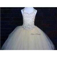 Champagne lace corset & rhinestones belt flower girl dress/ Junior bridesmaids dress/ Wedding flower