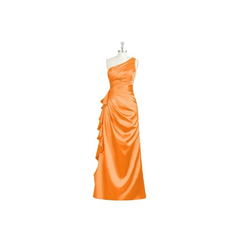 My Stuff, Tangerine Azazie Kamila - Side Zip Floor Length Charmeuse One Shoulder Dress - Cheap Gorge