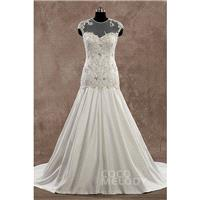 Hot Sale Illusion Dropped Train Satin Ivory Sleeveless Wedding Dress with Beading and Embroidery - T