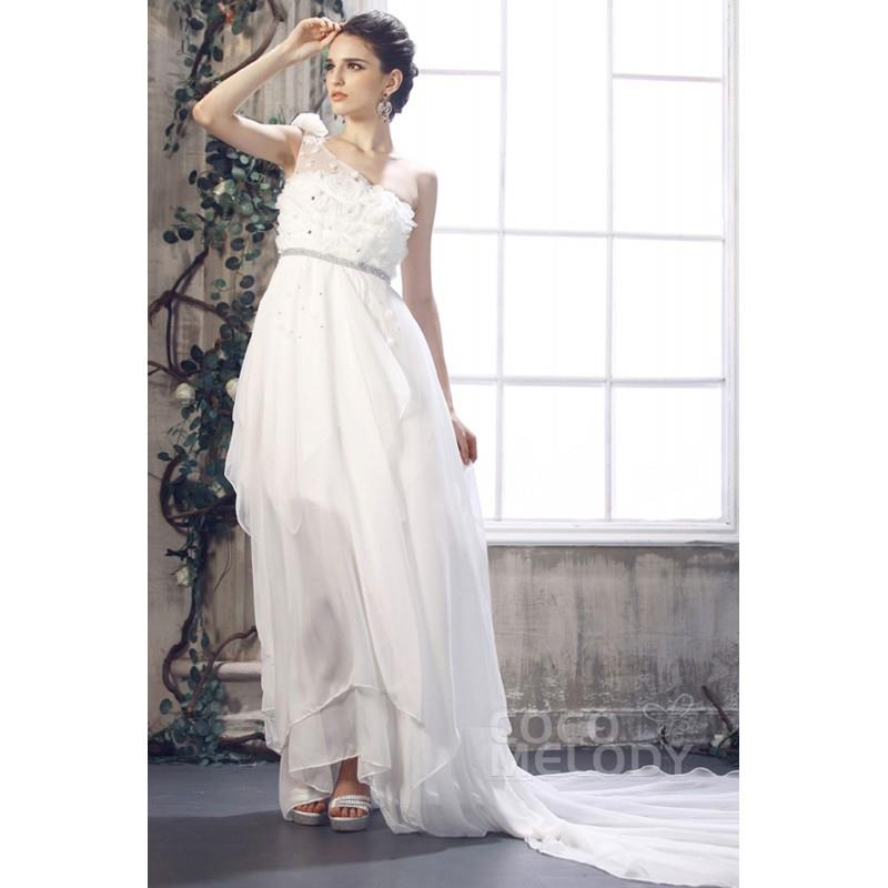 My Stuff, Grand Asymmetrical One Shoulder Empire Waist Chapel Train Chiffon Wedding Dress CWLH13004