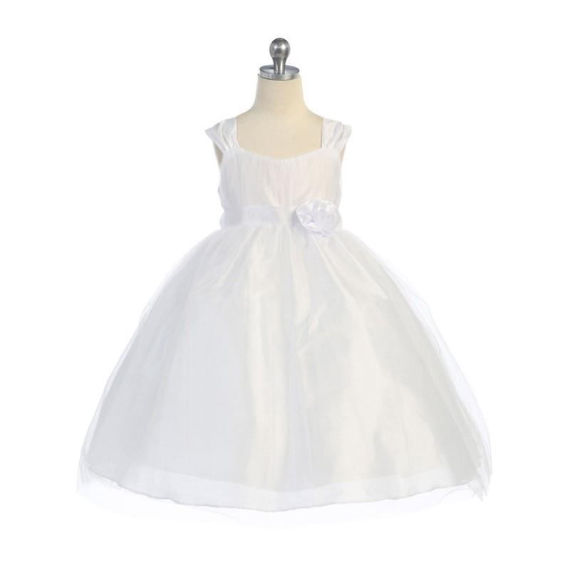My Stuff, White Empire Waist Tulle Dress w/ Poly Silk Sleeve & Sash Style: DM906 - Charming Wedding