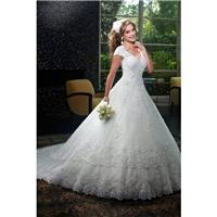 Style 6401 by Mary%27s Bridal - Chapel Length V-neck LaceTulle Ballgown Floor length Cap sleeve Dres