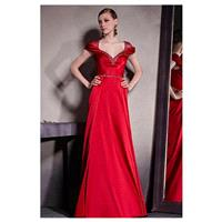 In Stock Satin & Transparent Net & Silk Satin V-neck A-line Prom Dress With Beads and Great Handwork