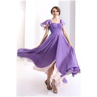Glamour Sheath-Column Square Floor Length Chiffon Paisley Purple Evening Dress COZH1300A - Top Desig