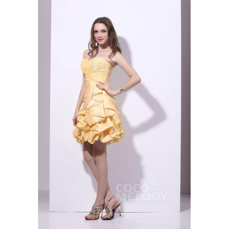 My Stuff, Pretty A-Line Strapless Short-Mini Taffeta Custard Bridesmaid Dress COLB1300D - Top Design
