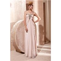 Glorious Sheath-Column Spaghetti Strap Floor Length Chiffon Veiled Rose Zipper Evening Dress with Dr