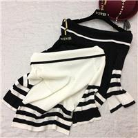 Vogue Split Solid Color Slimming Flare Sleeves Bateau Meryl Stripped Knitted Sweater - beenono.com