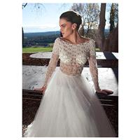 Brilliant Tulle Bateau Neckline A-line See-Through Wedding Dresses with Beaded Embroidery - overpink
